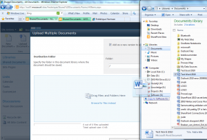 Upload Multiple Documents by drag& drop works in IE8 Windows 7