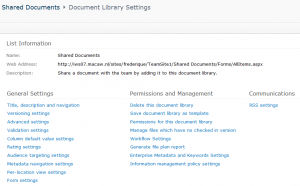 Document Library settings in 2010