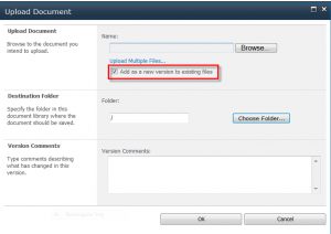 Upload document with the default option to overwrite the current file