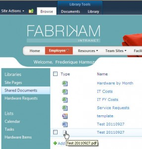 Fabrikam demo - Document Library