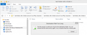 SkyDrive Pro warns you if your folders would result in a path that is too long
