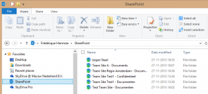 Under Favorites in my Windows Explorer, I have SkyDrive Pro for my personal files and SharePoint for synchronized libraries from team sites
