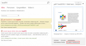 In the hover panel, a link to 'View duplicates'. In the Dutch version of SharePoint weirdly translated as 'Dubbels weergave'.