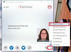 Start recording in your Lync meeting