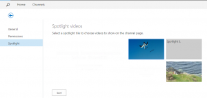 Spotlight settings: click on a tile to select the video that should be displayed there.
