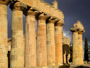 A Greek temple of Zeus, chief god of the Greek pantheon and god of thunder. (In Cyrene, Lybia)