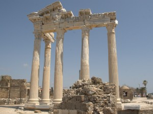 The Roman temple of Apollo in Side. Roman temples look rather like Greek temples, and Apollo himself was also taken over from the Greeks.