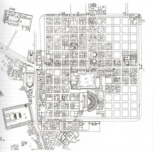 I have never been to the city of Timgad, in Algeria. But I immediately recognize the standard Roman street plan.
