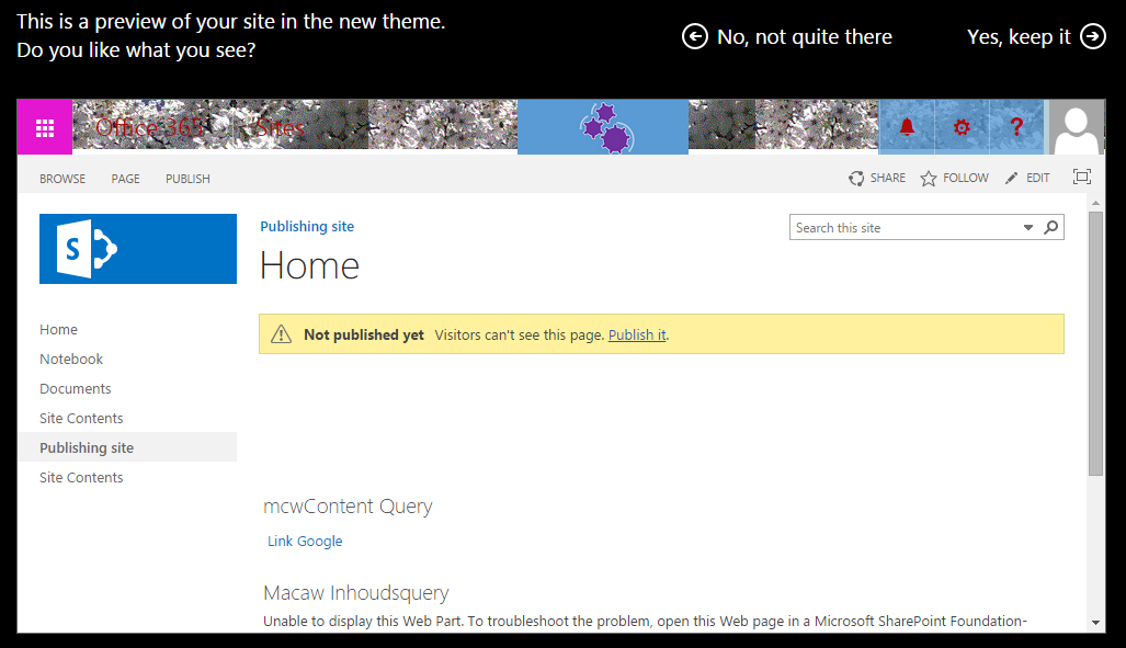 Change the look of a SharePoint site back to the default
