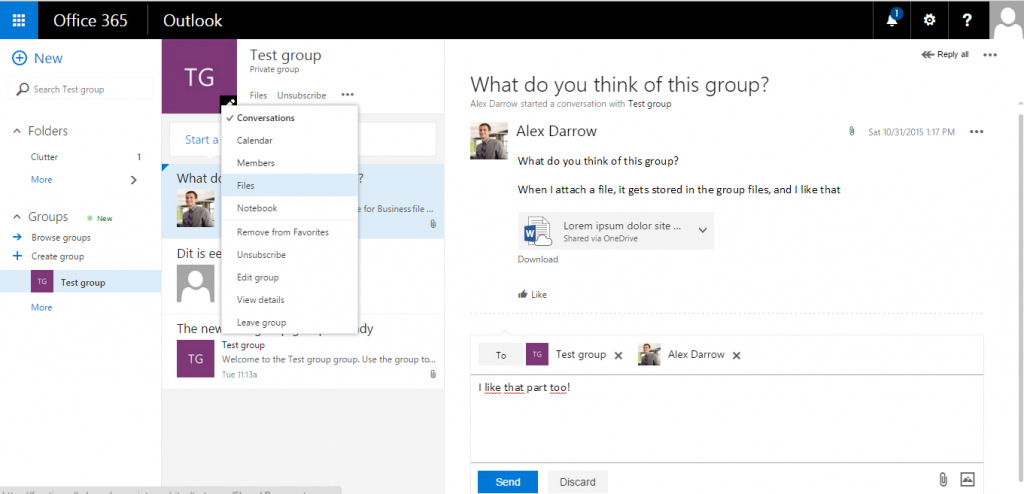 Office Group and its options available under the ellipsis (...)