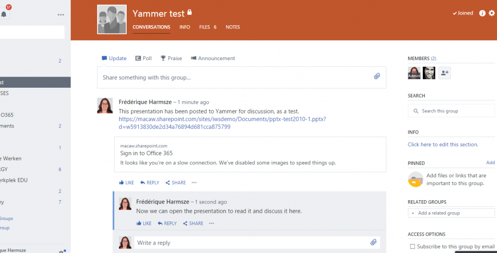 A Yammer group