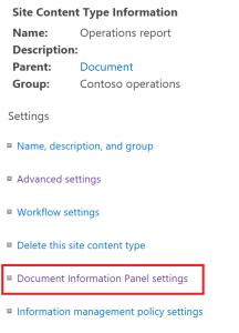 Content Type settings for the Document Information Panel