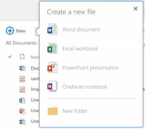 'New' button in a Document Library, to create a new document.