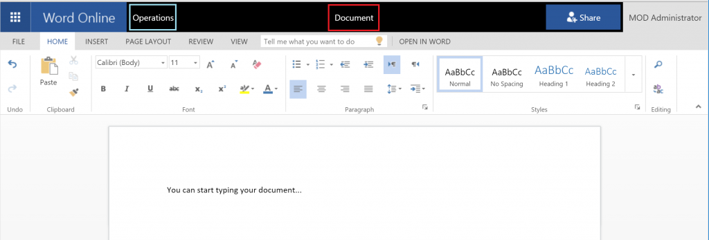 Write your document in Word Online