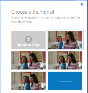 Choose a screen capture as a thumbnail or upload your own image.