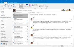 Office 365 Groups have a strong presence in Outlook 2015, where all Group options are available via the ribbon. Files and Notebook will open in the browser.