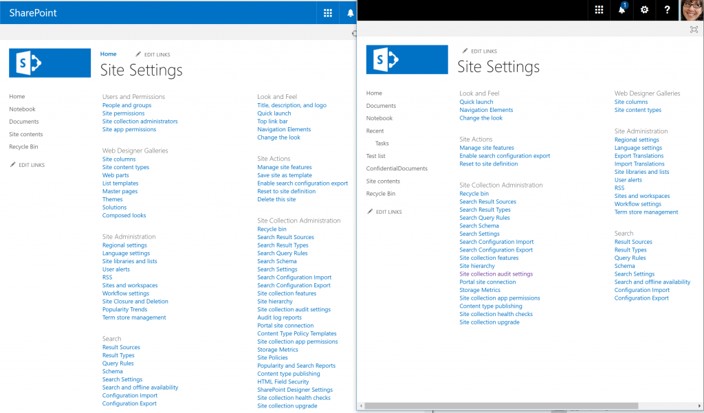 Site settings in a site associated with  Group versus the settings of a native SharePoint site