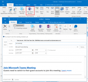 Teams Meeting invite from Outlook-ann