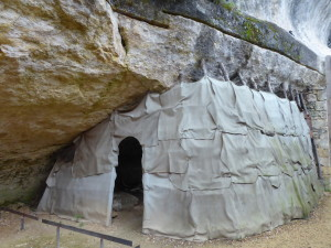 The original Abri de Cro-Magnon: the place that gave the Cro-Magnon man his name, when the first remains of his kind were discovered 150 years ago: the earliest human that was anatomically modern. With a reconstruction of what might have been a tent-like additional protection.