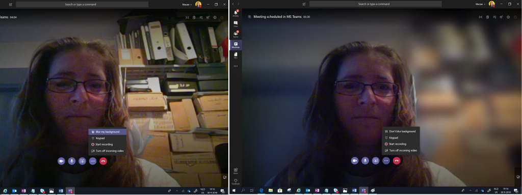 A video call without and with background blurring.