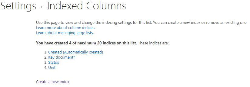 Indexed columns: Created has been indexed automatically, The others have been indexed manually, after the list became larger than the threshold of 5 000 items