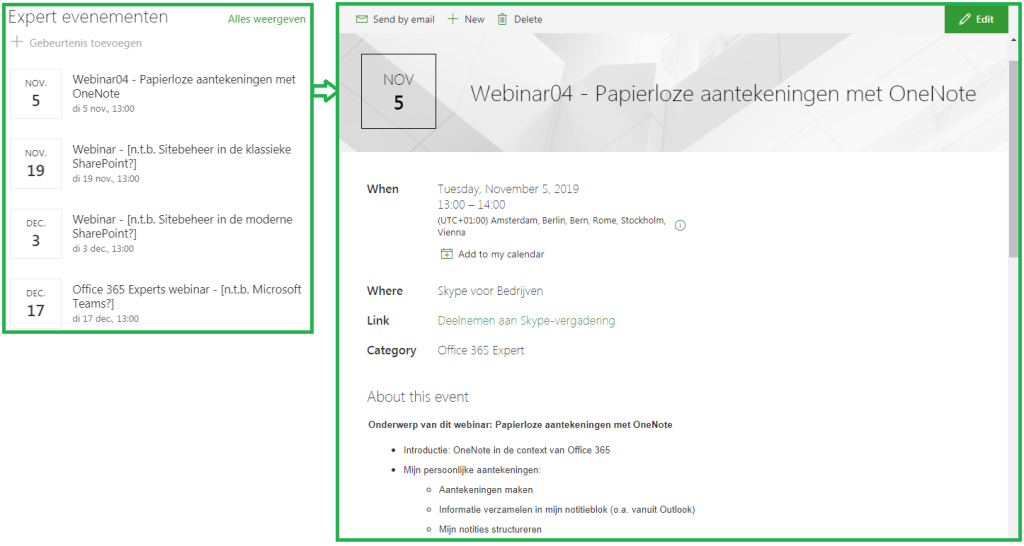 SharePoint event calendar and event details