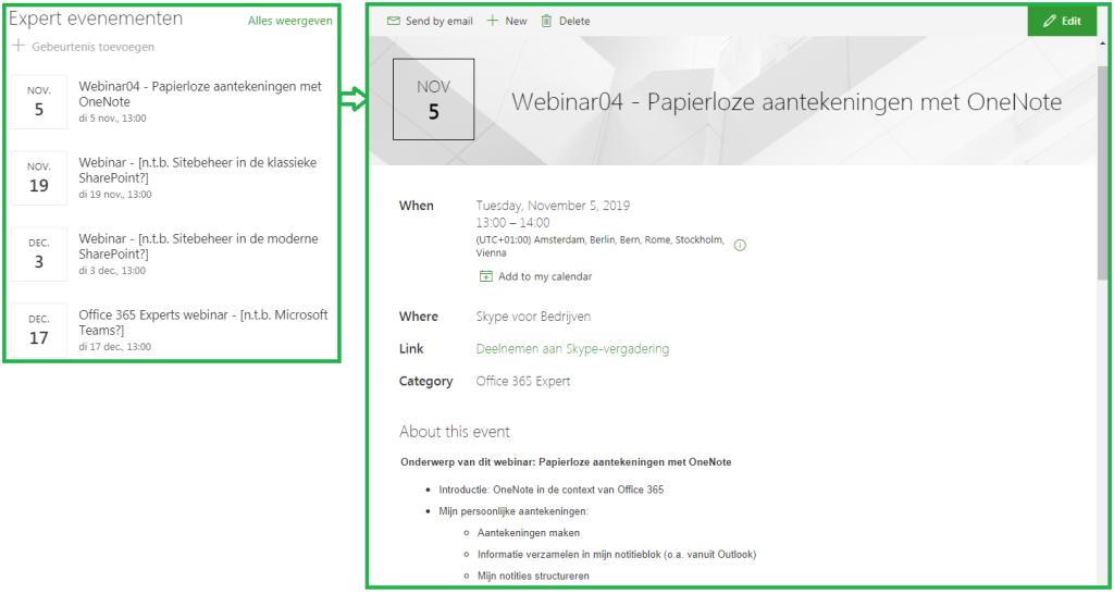 SharePoint event calendar and event details