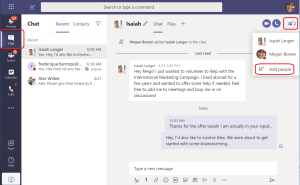 Ad hoc conversations in the chat: 1-on-1 and you can add people
