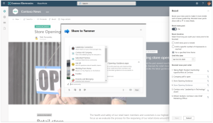 You can boost a SharePoint news article and share it to a Yammer community (Combination of Microsoft screenshots)