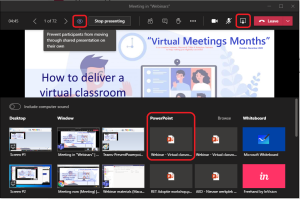 Sharing a specific PowerPoint presentation. Click the eye icon to stop the participants from browsing through your slides on their own.