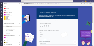 A Microsoft Forms survey to collect feedback after the training, included in a tab of the Training Team.