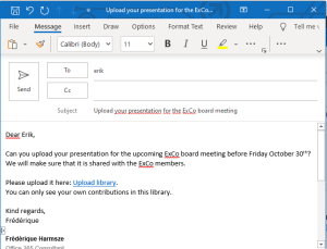 Mail to a guest: please upload your meeting documents in the library - just follow the link.