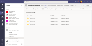 The meeting documents are gathered in a folder per meeting, in the Files tab of the meeting channel.