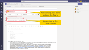 Schedule the meeting in Teams. Tip: first connect to the channel, before you configure the recurrence - otherwise you can no longer connect to the channel... Invite the guests separately.